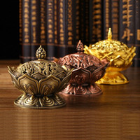 Wholesale Tibetan Lotus Incense Burner Mini Alloy Bronze Censer Metal Craft Home Decor Buddhist Living Room Supplies XHH8014