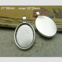 base metal jewelry supplies - 40 mm mm Antique Silver Oval Cameo Cabochon Base Setting Pendants Charm Pendant Tray Metal Jewelry Supplies