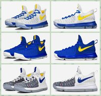 kd shoes mens - 2016 Kevin Durant Basketball Shoes Mens KD Shoes Warriors Away White Blue Gold Home Blue Yellow Atheletic Boots Traners Shoes