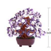 amethyst gem tree - 7 Inch Purple Crystal Money Tree Feng Shui Natural Amethyst Quartz Gem Stone Money Tree