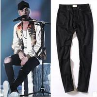best slim jeans for men - Best version Fear of God FOG zippers skinny slim fit mens Distressed justin bieber black cotton Denim jeans Casual trousers for men