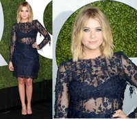 ashley benson - Short Lace Evening Dresses With Long Illusion Sleeves Ashley Benson Sheer Jewel Neck Sheath Above Knee Length Party Prom Red Carpet Gow