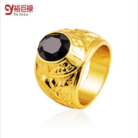 Wholesale 2016 New Arrival High Oval Black Ruby Rings For Mens And Womens Luxury Gold Plated Hip Hop High end Ring Rhinestone