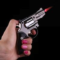 Wholesale Yaomeng Windproof Metal Cigarette Cigar small Pistol Gun Revolver Shape Refillable Butane Gas Flame Jet Lighter w Key chain