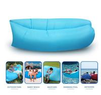 Bolsa de dormir inflable de aire rápido Hangout Lounger Air Camping Sofá portátil de playa Nylon cama de dormir de tela con bolsillo y ancla HHA1117