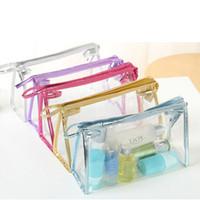 Wholesale New Colors Transparent Waterproof PVC Cosmetic Bag Envelope Receive Toiletry Bags Makeup Bag Organizer