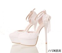 Cheap 2016 White Lace Crystal Luxury Bride Wedding Party Dress Shoes 7 Style Waterproof Evening Dress Shoes Wedding Shoes Sandal Women Party Shoes