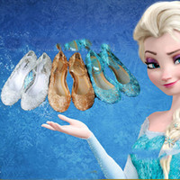 Wholesale Frozen Girl Queen Elsa Princess Sandals Anime Cosplay Shoes Fashion Lolita Sweet Children s Shoes Wedge Cheap Hollow Crystal Shoes