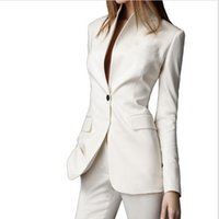 Cheap Autumn Custom Made White Casual Female 2016 Single Button Ladies' Business Suit Office Suits Women's Clothing