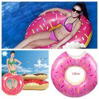 venda por atacado inflatable pool toys-Pool Float Gigantic Donut Piscina inflável Float Raft Beach Toys Piscina Float Lake brinquedo para flutuadores adultos Strawberry Chocolate KKA226