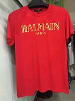 Wholesale 2016 Men Balmain top Short sleeve tshirt balmain tee mens t shirt colour white black red blue