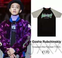 Wholesale Gosha Rubchinskiy Greatest Hits PACCBET T Shirt shirt MEN GD G Dragon BIGBANG Rapper fire tee flame Flare volcano Thrasher DSM