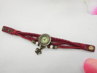 antique white round table - Europe and the United States han edition retro fashion bracelets table leaves Students hand woven leaves bracelet watches