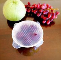 Wholesale 5pcs Transparent food silicone cling film reusable wrap seal cover kitchen food fresh keep