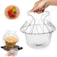 Wholesale 2015 New Arrival Hot Sale Foldable Steam Rinse Strain Fry Chef Basket Strainer Net Kitchen Cooking Too