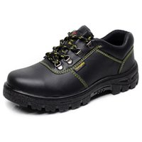 Wholesale Men s Work Safety Shoes Protective Boots Full Grain Leather Gusset Tongue Water Resistant Fashionable Steel Toe Black Shoes