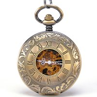 acrylic key tags - Retro Bronze Pendant Watch Men Women Sides Open Mechanical Pocket Watch Antiques Key Chain Black Dial Hand Wind Mixed