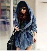 Hot Sale 2016 Coat Mode féminine Lady Denim Trench Hoodie Hooded manteaux Jean Jacket Refroidir