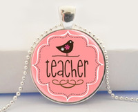appreciation letter - Hot glass dome jewelry Teacher s Jewelry Teacher Appreciation Back to School Pink and Brown Bird Art Pendant Necklace
