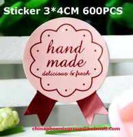 Wholesale Hand made Envelopes Seal Sticker Smooth Custom Paper Gift Packing Decoration Label for DIY Cookie Baking