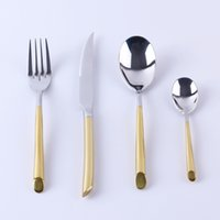 best cutlery knives - 4 Stainless Steel Dinnerware Cutlery Dinner Fork Spoon Knife With K Glod Plated Handle For Best Gift