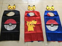 Wholesale Poke Mon Go Cape with mask Cartoon Costume Clothing cm Pokeball Pikachu Double Side Halloween Costumes OOA447