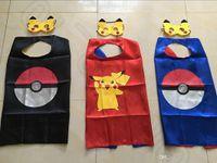 Wholesale Poke Mon Go Cape with mask Cartoon Costume Clothing cm Pokeball Pikachu Double Side Halloween Costumes OOA447