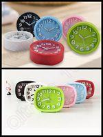 antique student desk - 100PCS Cute Modern Mute Plastic Desk Table Bed Alarm Clock Candy Colors Square Round Simple Students Clock LLA173