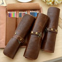 Wholesale Office School Supplies Pencil Cases Bags Pencil Bags Cylindrical Retro Dark Brown Leather Bags fashion cm stationery