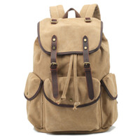 Wholesale hot sale fashion retro bucket bag travel backpack durable carvas crazy horse leather backpack with large capacity