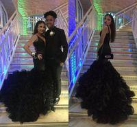 Wholesale 2017 Prom Dresses Long Black Sexy Deep V Neck Sleeveless Mermaid Organza Ruffles Skirt Evening Dresses Wear Custom Made