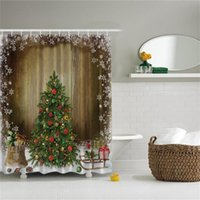 Wholesale Home Decor Holiday Presents Vintage Style Polyester Fabric Waterproof Christmas Tree Shower Curtains with Hooks