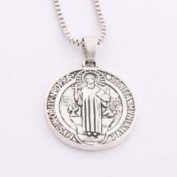 antique religious medals - 28x24 mm Antique Silver Saint St Benedict of Nursia Patron Cross Medal Religious Pendant Necklaces inches Chains N1647
