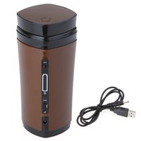 auto mugs - 2016 New Arrival Portable Rechargeable USB Heater Self Stirring Auto Mixing Tea Coffee Milk Cup Mug Warmer Lid Noble Gift
