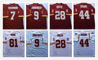 joe names achat en gros de-Men Short Throwback Classic Retro Jersey 7 Joe Theismann 9 Sonny Jurgensen 28 Darrell Green 44 John Riggins 81 Art Monk Stitched Name