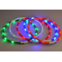 Wholesale flashing led pet collar USB Charge Dog Collar LED Outdoor Luminous charger Pet Dog Collars light Adjustable LED flashing dog collar