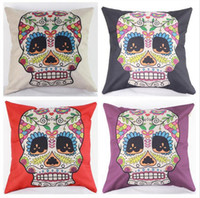 bedroom chairs sale - 45cm Hot Sale Black Purple Skulls Cotton Linen Fabric Throw Pillow inch Fashion Hotal Office Bedroom Decorate Sofa Chair Cushion