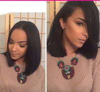 babies french - Short Brazilian Hair Wigs For Black Women Natural Color Silk Straight Human Hair Wigs Bob Style Glueless Full Lace Wig With Baby Hair