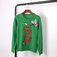 Wholesale 2016 Green Snake Butterfly Embroidery Autumn Women s Sweaters High End Milan Runway Cotton Knitting Pullovers