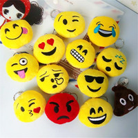 Wholesale 5 cm Cute Lovely Emoji Smile keychain Yellow QQ Expression face key chain key rings hang doll toy bag pendant accessory