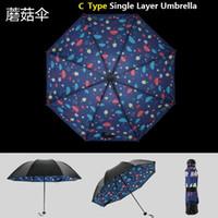 Wholesale 3 Fold Mini UV Umbrella Inner Print Outer Black Umbrella High Quality Sun Rain Umbrella High Quality Manual Open