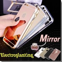 Wholesale Deluxe Electroplating Mirror TPU Clear Soft Back Phone Case Cover Skin for iPhone Plus S SE S Samsung Galaxy S7 Edge S6 Note
