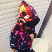 Wholesale The new spring models boy child coat baby shark head fashion stitching camouflage clothing kids hoodies sweatshirts