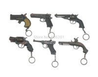 Wholesale 1 Set Metal Pistol Gun Model Toy Guns w Key Chains Revolver quot quot Pistol Long barrelled Double Barrel Tortoise Box Gunpowder Toy Guns