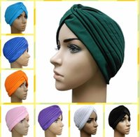 beauty hijab - Women Lady Stretchy Polyester Turban Head Wrap Hats Band Bandana Hijab Pleated Indian Styles Beauty Lili Muslim Caps Fashion Accessories
