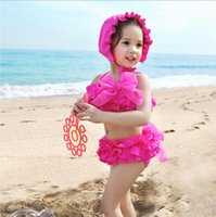 Wholesale 2016 Children Bow Floral Swimsuit Summer Girls Strap Vest Lace Tutu Skirts With Cap Three piece Sets Baby Kids Beachwear NSH4