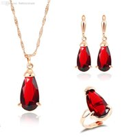 banquet zinc - Red High Quality Synthetic Crystal Pendant Accessory Zinc Alloy Chain Necklace For Banquet Luxury Banquet Jewelry