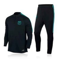 barcelona set - Top quality jerseys Barcelona Football Training suit long sleeve soccer Soccer tracksuit Sets Black pants