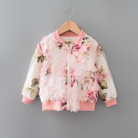 Wholesale 2 age Baby girl Fall floral jacekt female kids autumn long sleeve over coat children clothing