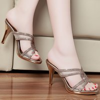 Wholesale Elegant Summer Lady s Stiletto heel Rhinestones Fish toe Slippers High heel Open toe Slides Scuffs in